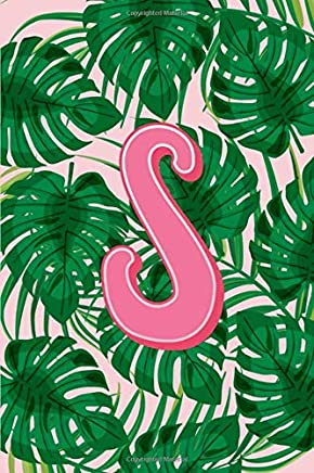 S: Letter S Monogram Green & Pink Palm Tree Fronds Notebook & Journal