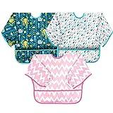 Baberos de bebé con mangas, impermeables, unisex, para bebés de 24 meses a 5 años de edad
