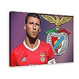 Cartel de lona para el futbolista portugués Rúben Dias Manchester City Football Club Defender Style 7, decoración del dormitorio, deportes, paisaje, oficina, habitación, regalo, 40 x 60 cm. Marco: 1