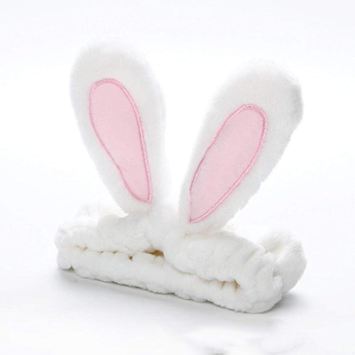 寸法適応ネブかわいいうさぎ耳帽子洗浄顔とメイクアップファッションヘッドバンド - ホワイト