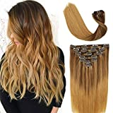 Clip In Hair Extensions Double Weft Brazilian Hair 120g 7pcs Medium Brown Fading to Golden Brown and Strawberry Blonde Highlighted Full Head Silky Straight 100% Human Hair Clip In Extensions 16 Inch
