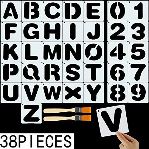 Fantesi Buchstaben-Schablonen, Plastikschablonen, Alphabet-Vorlagen, wiederverwendbar, Kunsthandwerk-Schablonen mit Zahlen, Zeichen und 2 Pinsel, 36 Stück
