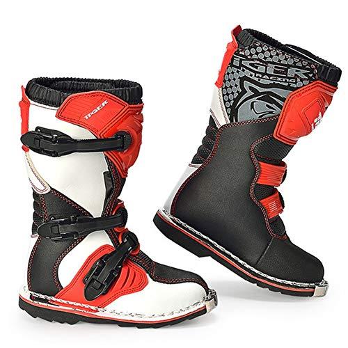 AJL Zapatos Motocicleta blindado Largo Tobillo protección contra choques - Botas de Moto niño Impermeable Color Rojo, rotación al Aire Libre niños Ciudad Urbana Botas Anti Skid Suela Goma (Size : 37)
