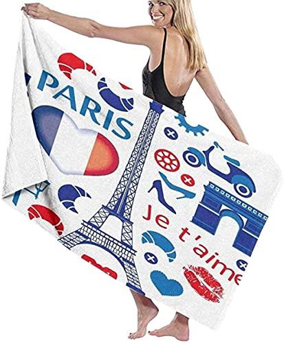 Toalla de Playa Grande 80x130cm,Paris Love,Toalla Microfibra,Suave,Absorbente Viaje Toallas de Mano de Hombres,Niños,Natación,Playa,Camping