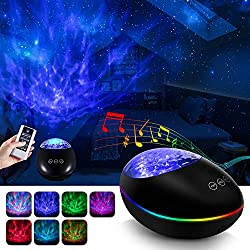 Star Galaxy Light Projector for Bedroom,Ocean Wave Projector Night Light Projector with Bluetooth Timer,Star Projector with Music Remote,Starlight Sky Lite Light Projector for Adult Kids- Black