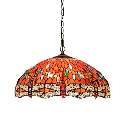 Luz de Techo Tiffany Araña de Estilo Tiffany 5 0cm Tiffany Style Red Dragonfly Pendente Lámpara Colgante de Techo de Vidrio
