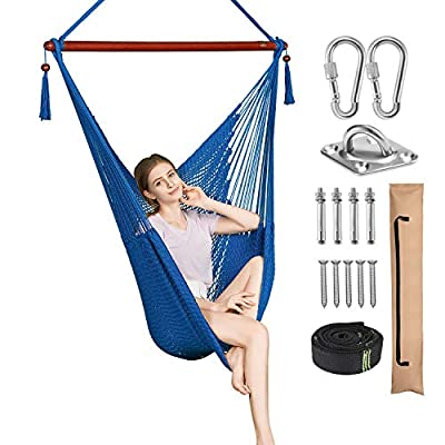 Greenstell Large Caribbean Hammock Hanging Chair with Hanging Kits and 150cm Strap,Swing Chair Comfortable Durable,100% Soft-Spun Polyester,for Indoor,Outdoor,Home,Patio,Yard,Garden 40 Inch (Cream)