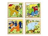 Woodyland 4 Rompecabezas con Mango Puzzle Set Juego STECK Rompecabezas de Madera de Madera del Rompecabezas del Gato del Perro