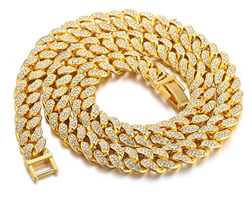 Halukakah Diamante Cadena Cubano de Oro para Hombre,13MM Chapado en Oro Real de 18k Gargantilla Collar 55cm,Cz Completa Juego de Puntas de Corte de Diamante,con Caja