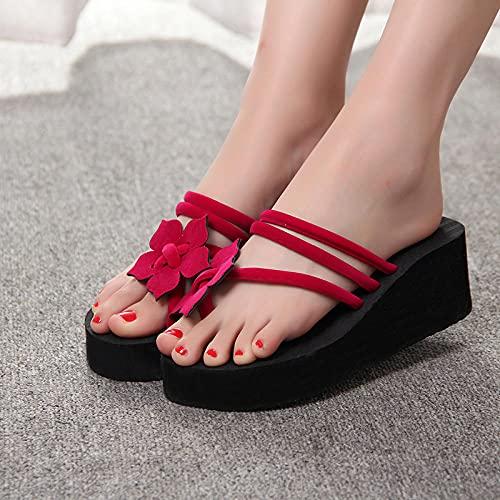 MLLM House Soft Foams Sole Zapatos de piscina, tacón alto grueso, flip, flores, sandwicker, sandalias-702 - rojo_40, zapatillas de baño unisex