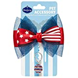 Blueberry Pet American Flag Accessory Set of Bow Collar Slide Hair Clip and Pedant for Dogs & Cats, USA Flag Bowtie and Disco Ball Tag