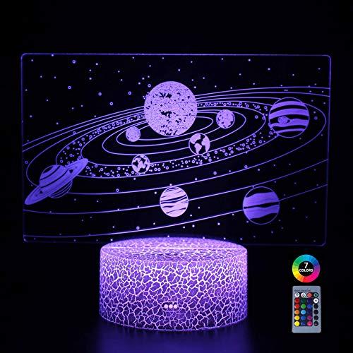XIMIXI 3D Illusion Nachtlicht Galaxis Sternenhimmel Planetenlampe 16 Farben Freiheit zur Veränderung, Weihnachtsgeschenke Geburtstagsgeschenke