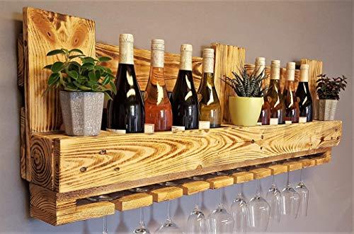 Weinregal Palette beflammt vintage für 10 Weingläser incl. Aufhängung Schrauben & Dübel Flaschenregal Weinflaschenregal Wandregal Palettenmöbel