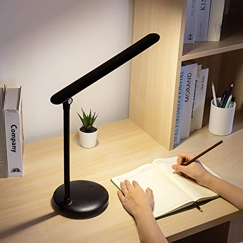 Led Desk Lamp for Study, One Fire Rechargeable Table Lamps for Office Dorm, Kids and Children Dimmable Adjustable Foldable Touch Lamp USB Eye Caring Computer Reading Lamp 3 Color Modes (Black)