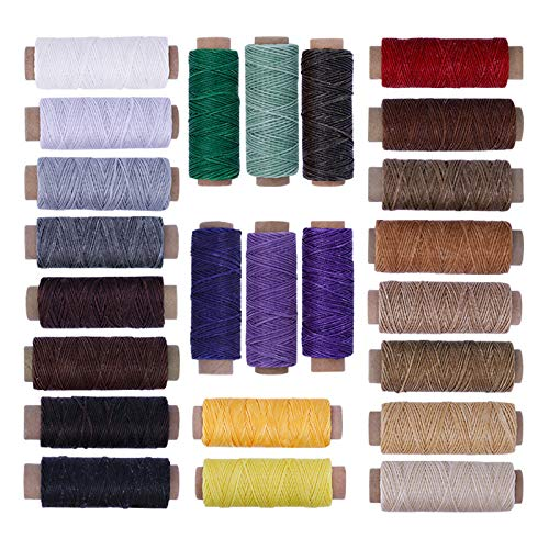 Non-brand 24 Colores 150D 55 Yardas Cada Hilo Encerado Plano Duradero Extra Fuerte Trabajo Pesado para la fabricación de Zapatos de Cuero Reparación de Costura