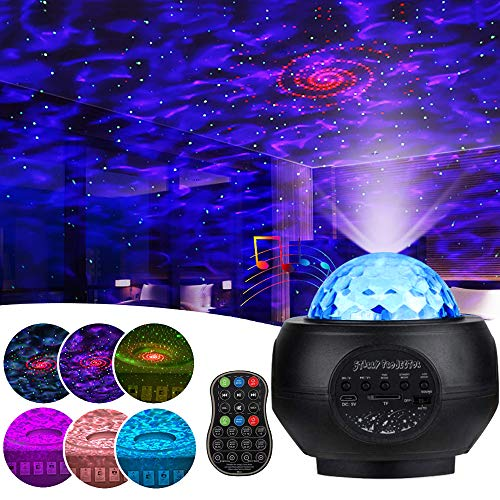 Star Projector Night Light -Jior Starry Projector Lights with Bluetooth, Starry Projector with Remote Control, 48 Lighting Modes, Star Projection Lights Apply to Kids/Bedroom/Ceiling