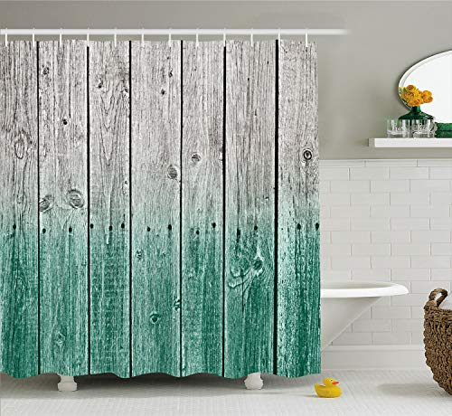 Ambesonne Rustic Shower Curtain, Wood Panels Background with Digital Tones Effect Country House Image, Cloth Fabric Bathroom Decor Set with Hooks, 70' Long, Jade Grey