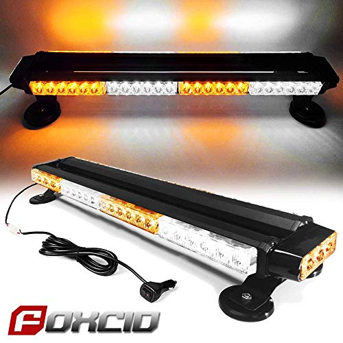 """FOXCID White Amber White 26"""" 54 LED Emergency Warning Security Roof Top Flash Strobe Light Bar with Magnetic Base, for Plow or Tow Truck Construction Vehicle"""