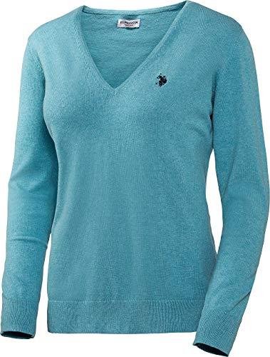 U.S. POLO ASSN. Damen Baumwoll Pullover mit V-Ausschnitt in Türkis, angenehm zu tragen und sehr hautfreundlich, Größe: S-XL, Menge: 1 Stück