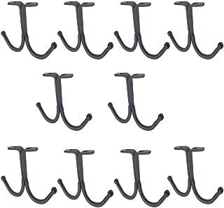 haowei 10 Pcs Double Prong Ceiling Hook Towel/Robe/Coat Clothes Hook (Black)