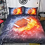 Rugby American Football Bedding Set Ice Brown Ball Flame Pattern American Football Duvet Cover 3 Piece Sports Bedding Dark Blue Orange Duvet Cover with 2 Pillowcase Queen Size 90'x90'(No Comforter)