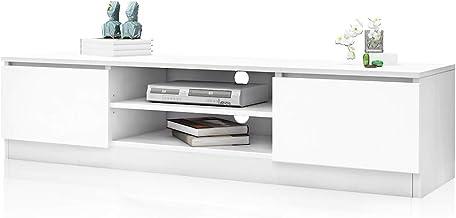 TV Cabinet Stand Entertainment Unit Wooden 2 Open Shelves & 2 Doors Storage White 160CM Living Room Furniture