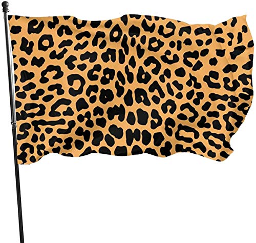 Oaqueen Banderas, Free Leopard Print Vector Garden Flag 3x5 FT Banner with Brass Grommets Fly Breeze House Indoor Outdoor Home Boat Yacht Car Decorations,Single-Sided Black