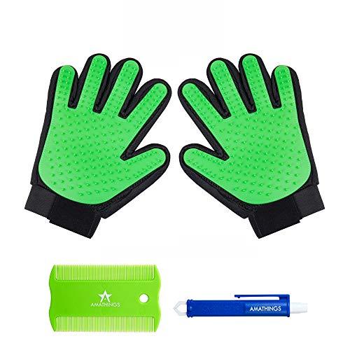 AMATHINGS 1 Paar = 2 Fellpflege-Handschuhe In Grün zur einfachen Entfernung Loser Tierhaare, Massage für Hund & Katze Plus Zeckenzange & Floh-kamm