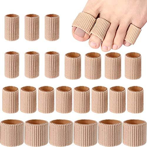 Fancyqube Zehenkappen Set, 24 Stück Premium Zehenschutz Zehenschoner Schlauchbandage Fingerschutz Zehen-Fingerschutz gegen Blasenbildung Schwielen