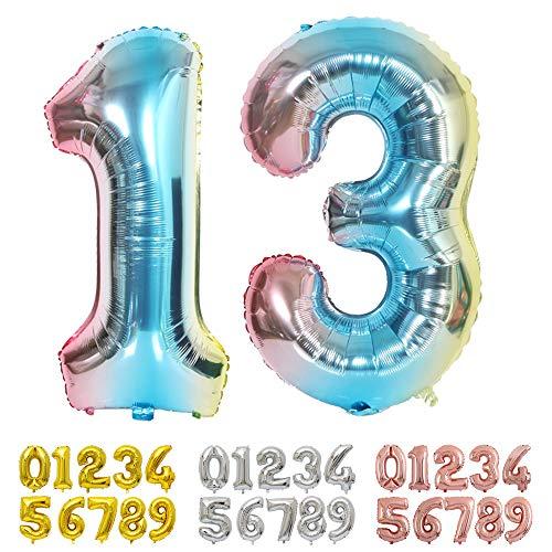 Ponmoo Blau Luftballon Zahlen 13 / 31 0 1 2 3 4 5 6 7 8 9 10 to 30 40 50 60 Riesige Folienballon Zahl Geburtstagsdeko, Deko zum Geburtstag Folienluftballons Dekoration Birthday Heliumdeloono