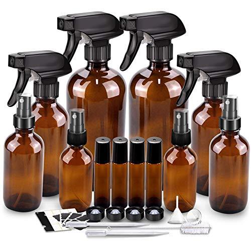 Glass Spray Bottle Kits, BonyTek Empty 4 10 ml Roller Bottles, 8 Amber Essential Oil Bottle(16oz,8oz,4oz,2oz) with Labels for Aromatherapy Cleaning