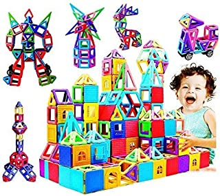 infinitoo Magnetic Building Blocks, Magnetic Building Tiles, 146 Piece Magnetic Shapes, ABS Safety Plastic, Instruction Bo...