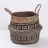 Seagrass osier panier en osier pliant pot de fleur suspendu sale pot à linge panier de rangement panier décoration de la maison taille (27 X 23 cm)