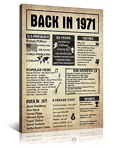 MEITUX 50th Birthday Decorations Supplies Home Decor - Room Him or Her Gifts Supplies Canvas Wall Art for To Men And Women Anniversary Wedding Party Poster - 50 Years Happy 12X16 [Framed] Back in 1971