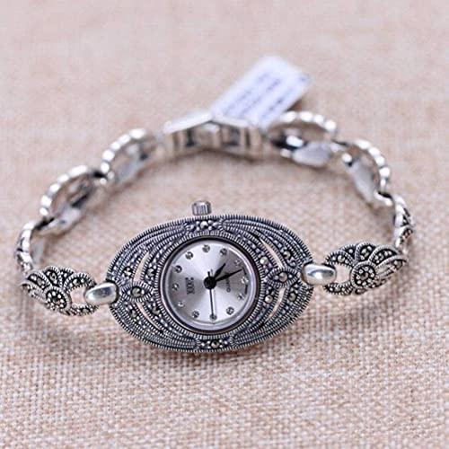 WOZUIMEI Orologio Vintage in Argento Sterling 925 Orologio da Polso Vintage Gioielli Marcasite Orologio da Donna in Argento Thailandesebianca
