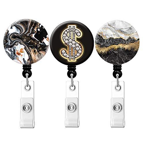 Retractable Badge Holder ID Card Holder Nurse Badge Reel Decorative Badge Holder Decorative Badge Holder Carabiner Reel (Dollar Black Marble 3pack)