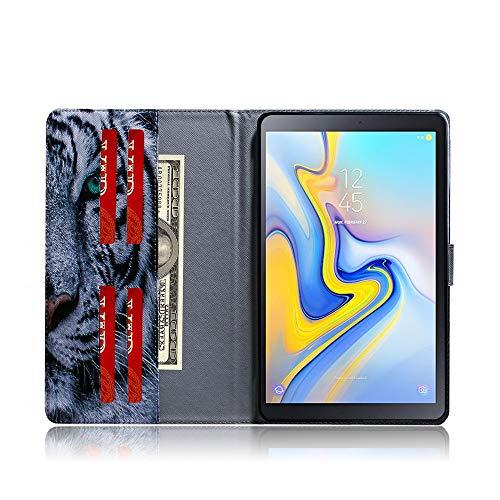 Samsung Galaxy Tab A 10.5'' Hülle Case - Ultra Slim Leder Tasche Hülle Skin für Samsung Galaxy Tab A (2018) SM-T590N/T595N (10,5 Zoll) Schutzhülle Smart Case Cover mit Standfunktion (Weißer Tiger)