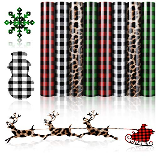 8 Sheets Christmas Buffalo Plaid Iron-on Vinyl HTV Assorted Leopard Pattern Check Heat Transfer Vinyl Heat Transfer Vinyl for T-Shirts Fabric Craft, 12 x 10 Inch (Red, White-Black, Green, Leopard)