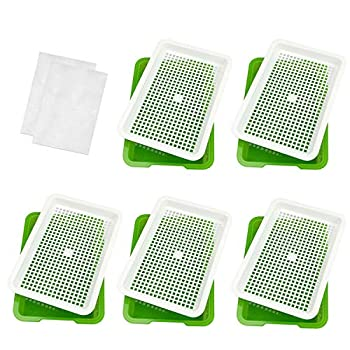 Seed Sprouter Tray BPA Free Healthy Seed Germination Wheatgrass Cat Grass Microgreens Growing Kit Great for Garden Home Office - 5 Pair
