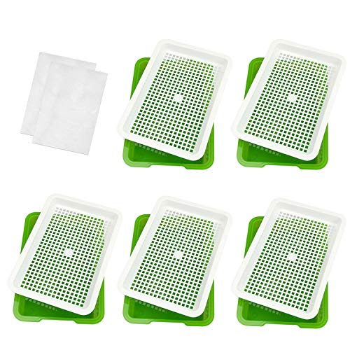 Seed Sprouter Tray, 5 Pack Seed Germination, BPA Free Wheatgrass Cat Grass Microgreens Growing Kit, Great for Garden Home Office