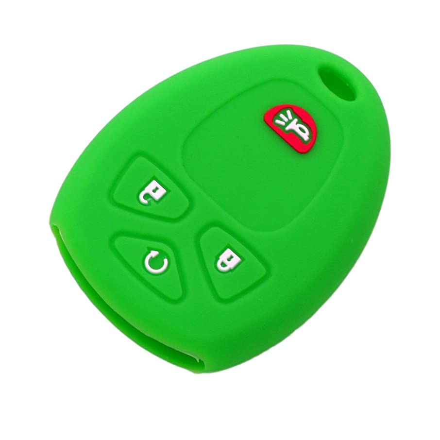 SEGADEN Silicone Cover Protector Case Skin Jacket fit for CHEVROLET BUICK GMC 4 Button Remote Key Fob CV4607 Light Green
