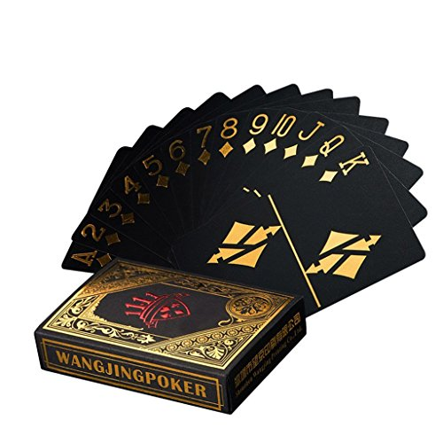 Leaptech Wasserdichtes Pokerkarten Schwarze Spielkarten Profi Poker Karte Spielkarte Playing Cards aus Plastik Top Qualität Plastic Poker für Ihr Poker Vergnügen Gold