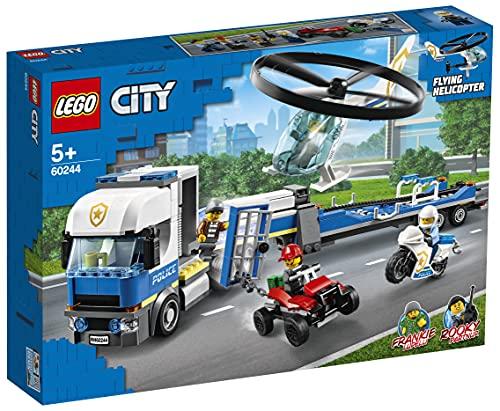 LEGO60244CityPolizeihubschrauber-Transport,BausetmitQuad,MotorradundLastwagenmitAnhänger