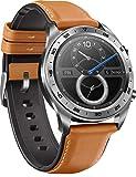 HONOR Smartwatch im klassischen Uhrendesign mit 3 cm (1,2 Zoll) AMOLED Display, Moonlight Silver + Brown Leather & Silicone