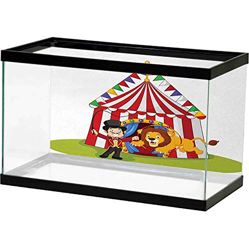 bybyhome 3D Double-Sided Adhesive Circus Decor,Cartoon Lion Jumping Through Ring with Circus Tent Celebration Show,Multicolor Landscape Image Fish