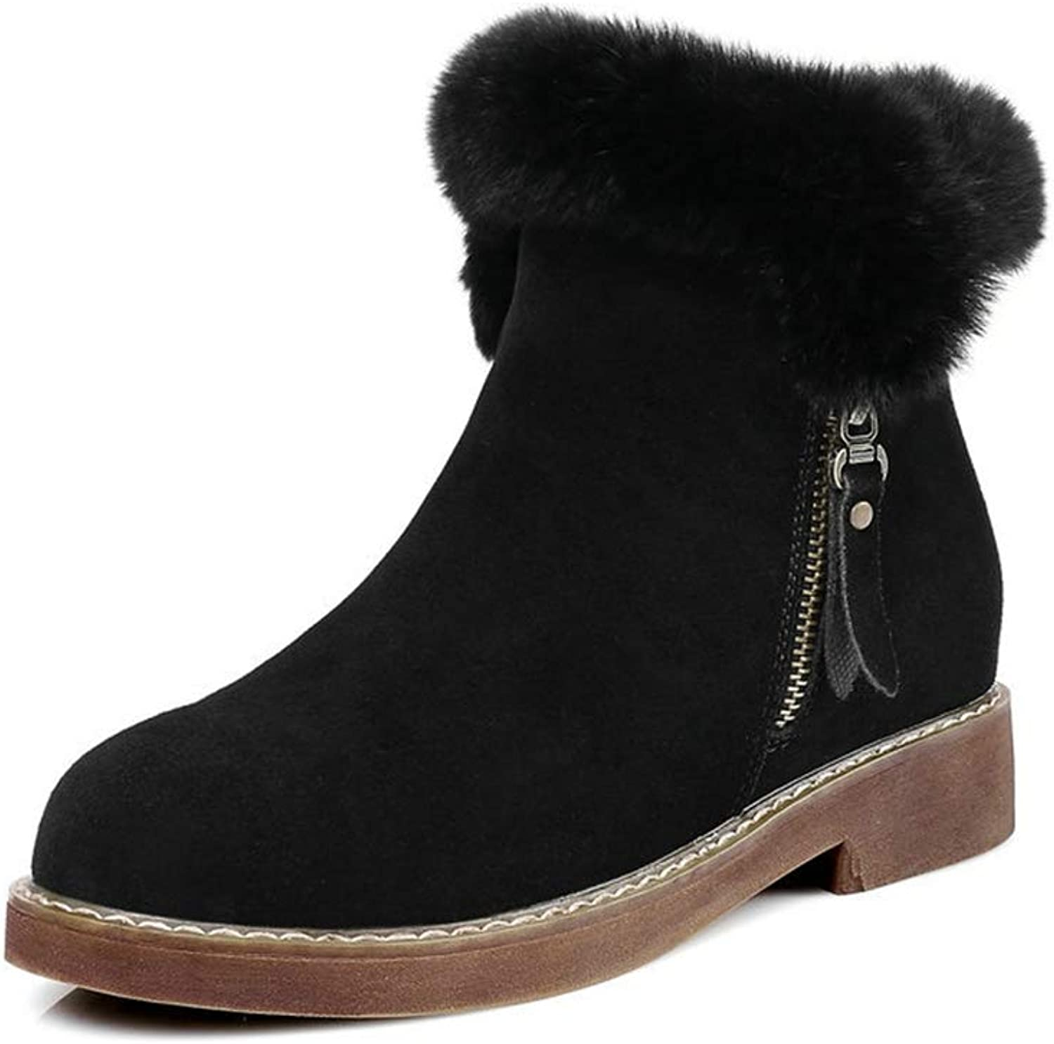 T-JULY Women Snow Boots Fashion Fur Genuine Leather Low Heels Casual Ankle shoes