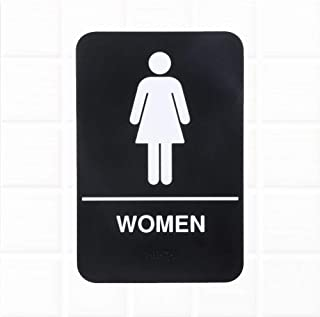 Women Restroom Sign with Braille - Black and White, 9 x 6-Inches ADA Compliant Women Bathroom Sign for Door/Wall by Tezzorio