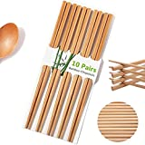 Mannice Reusable Chopsticks Chinese Natural Bamboo Long Lightweight Wood Eating Cooking-10 Pairs gift Sets Dishwasher, 9.8Inch /25cm, (Upgraded Version)