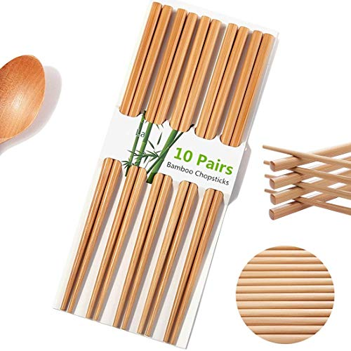 "Chopsticks Reusable Chinese Natural Bamboo Chopsticks 9.8""/25cm Long Lightweight Wood Chopstick Set For Restaurant Eating Cooking -10 Pairs gift Sets Dishwasher Safe Japaness Style"