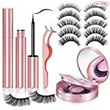 6 Pairs Magnetic Eyelashes and 5D Magnetic Eyelashes with Eyeliner, False Eyelashes Pack With Tweezers are Firm and Easy to Stick Natural Look Lashes for Women- No Glue Needed